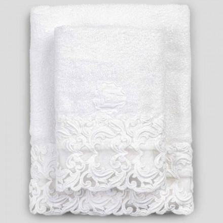 Vita bomullsfrottéhanddukar med spets, 2 stycken italiensk lyx - Sposi