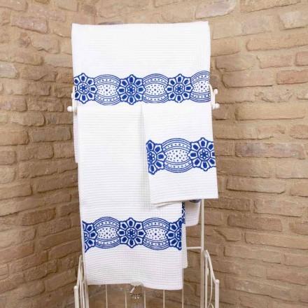 Italiensk handgjord handduk med handgjort tryck i bomull - Viadurini av Marchi