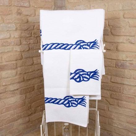 Handgjord tryckt handduk i unikt bomull tillverkat i Italien