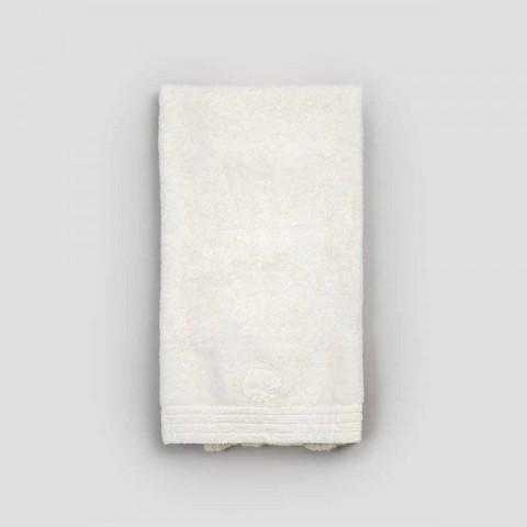 Cotton Terry Face Handduk med Spets och Linne Blend Edge - Ginova