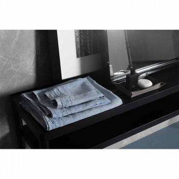 Ljusblå gästhandduk i kraftig linne italiensk lyxig design - Jojoba
