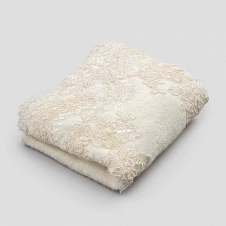 2 bomullsterry handdukar gästhanddukar och spetslinne blandad kant - Ginova