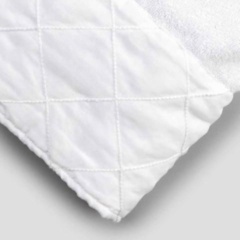 Ansiktshandduk i vit bomullsfrotté med geometrisk dekor - Gimmy