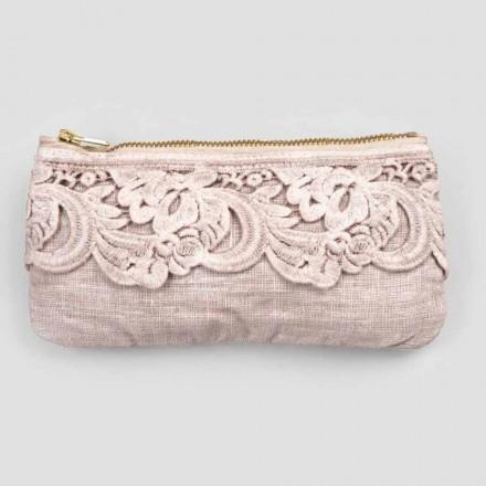 Svart eller rosa linneväska med spets och dragkedja 3 mått 2 stycken - Lullabi