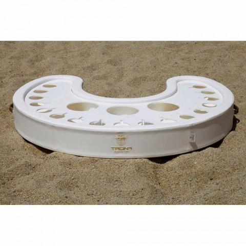Trona flytande bar i vitt nautiskt ekologiskt läder och plexiglas