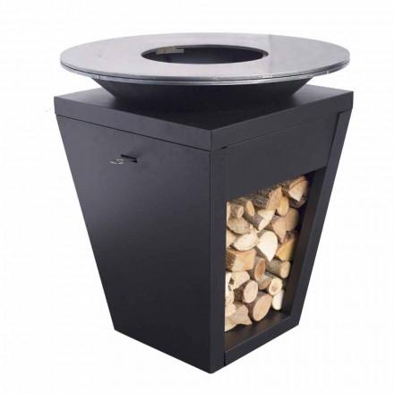 Träbrännbarbecue med kokplatta och vedhållaravdelning - Ferran
