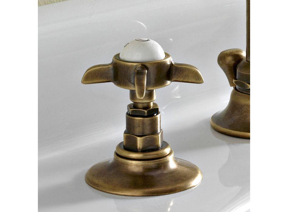 3-håls tvättställsblandare med hög pip i mässing och fjärilshandtag - Miriano
