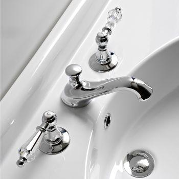 3-håls tvättställsblandare med klassiska spakar i handgjord mässing - Noriana