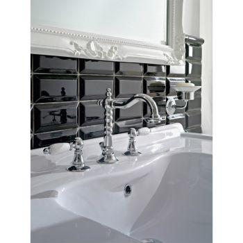 3-håls tvättställsblandare med mässingsavlopp i klassisk hantverksstil - Noriana
