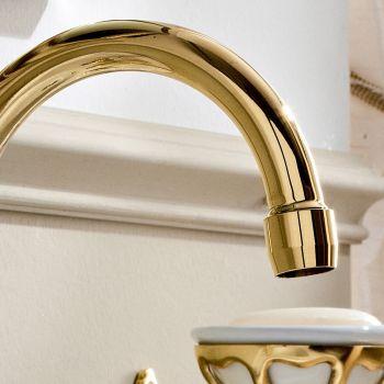3-håls tvättställsblandare med hög pip i Classic Handgjord mässing - Fioretta