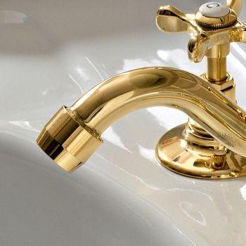 3-håls tvättställsblandare med klassiskt handgjord mässingsavlopp - Fioretta