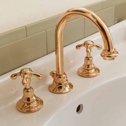 High Classic 3-Hole Messing Basin Mixer Made in Italy - Klarisa