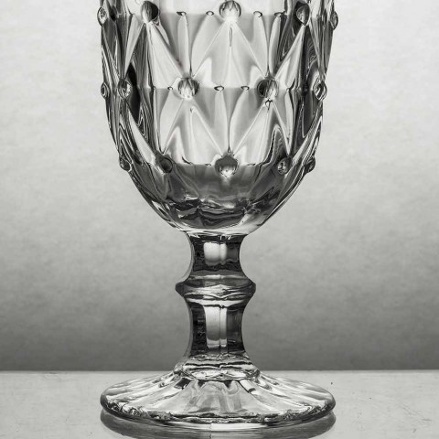 Bägare i genomskinligt glas med lättnadsdekoration 12 stycken - ilska