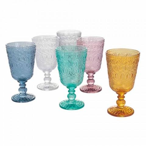 Bägare glas vin eller vatten i glas med dekorationer, 12 stycken - Pizzotto