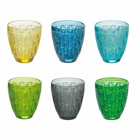 Färgade glasvattenglasögon med bladgarnering, 12 stycken - Indonesien
