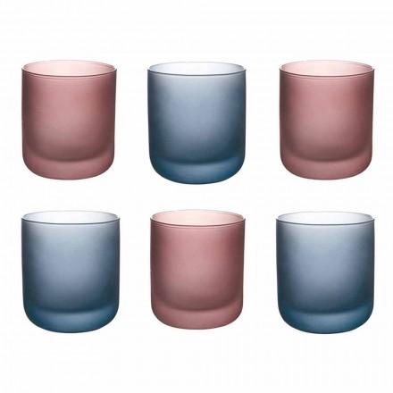 Färgade vattenglasögon i frostat glas med iseffekt, 12 stycken - Norvegio