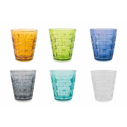 12 färgade tjänster färgade glas vattenglasögon - sammanvävning