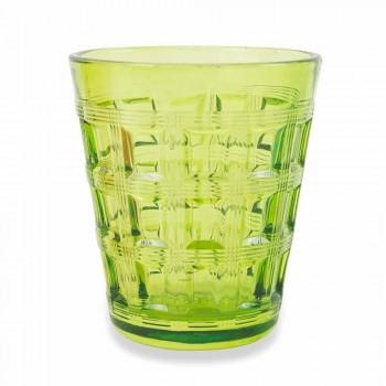 6 färgade tjänster färgade glas vattenglasögon - sammanvävning