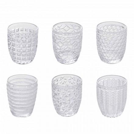 Dekorerade genomskinliga glasvattenglasögon, modern service 12 stycken - mix