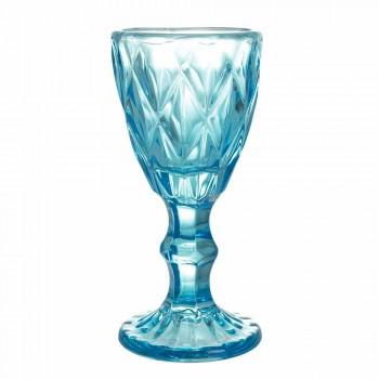 Bägare glasögon för likör i lutningsblått eller bärnstensglas, 12 stycken - polyeder