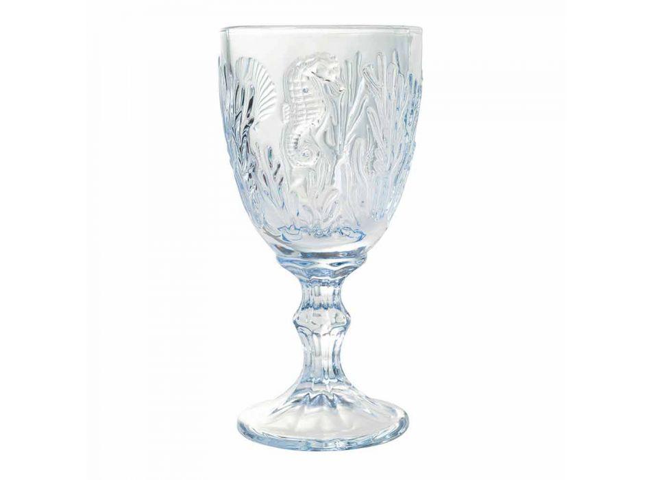 Glasögon Vin- eller vattenfärgat glas marin dekor 12 stycken - Mazara