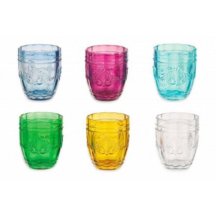 Färgade och eleganta glasögon i glas Service av 12 delar för vatten - skruv