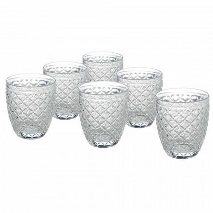 Transparent glasvattenglas med snidade dekorationer 12 stycken - Rocca