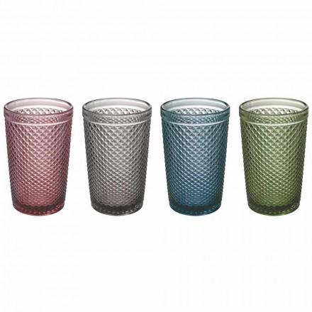 Vatten- eller dryckglas i färgat och bearbetat glas, 8 stycken - sugtablett