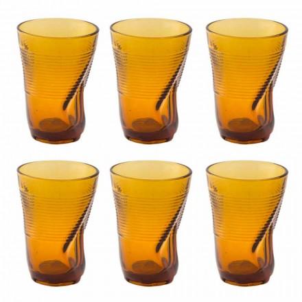 Färgade glas cocktailglas 12 stycken skrynklig design - Sarabi
