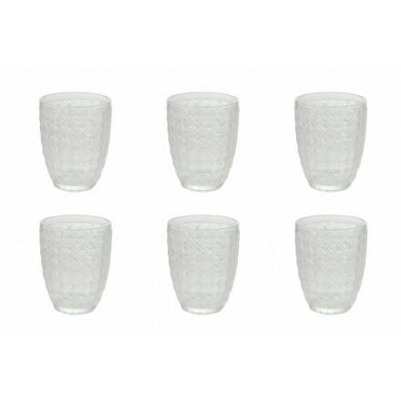 12 delar serveringsglas i genomskinligt glas för vatten - optiskt