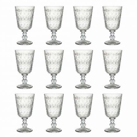 Vinglas i genomskinligt dekorerat glas 12 designbägare - marockobiskt