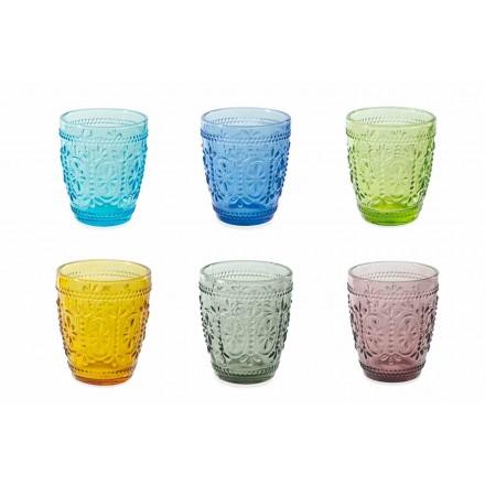 Dekorerade och färgade glasögon Vattenuppsättning 12 delar - Pastell-Palazzo