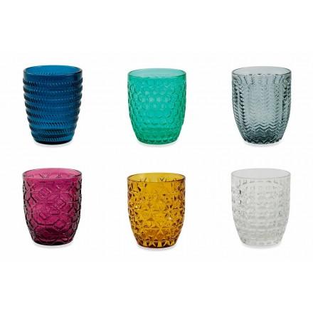 Moderna färgade glasdekorerade glas som serverar vatten 12 delar - blandning