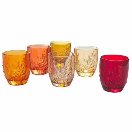 Färgade glasvattenglasögon med koraldekoration, 12 stycken - Crimson