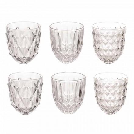 Glas för vatten i genomskinligt glas och lättnadsdekoration 12 stycken - ilska