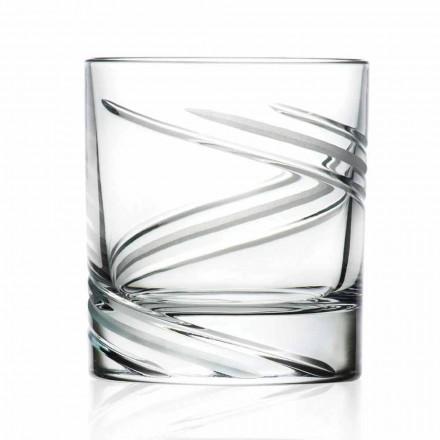 Låga glasögon i handdekorerad ekokristall, 12 stycken - cyklon
