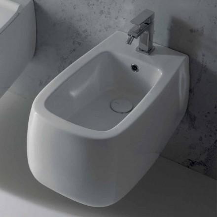 Design upphängd bidé i vit Gaiola keramik, tillverkad i Italien
