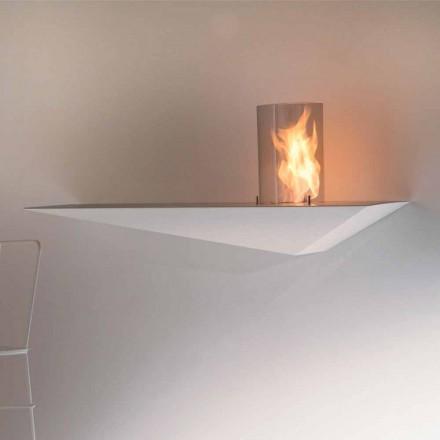Vägg Biofir spis i modern design i målat stål och glas - Malcolm