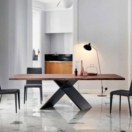 Bonaldo Axis designbord i trä med naturliga kanter gjorda i Italien