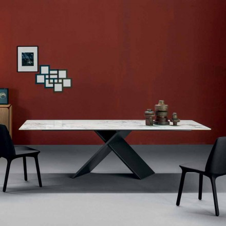 Bonaldo Axes platta bord i keramikmetallbotten gjord i Italien