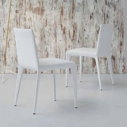 Bonaldo Filly stoppad designstol i vitt läder tillverkat i Italien