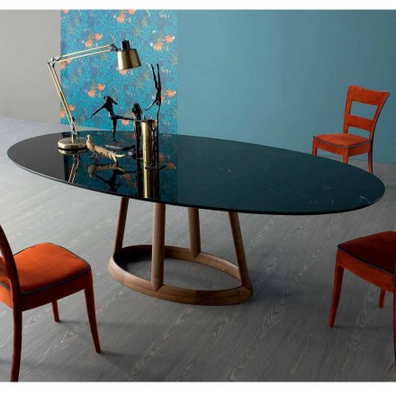 Bonaldo Greeny design ovalt bord i Marquinia marmor tillverkat i Italien