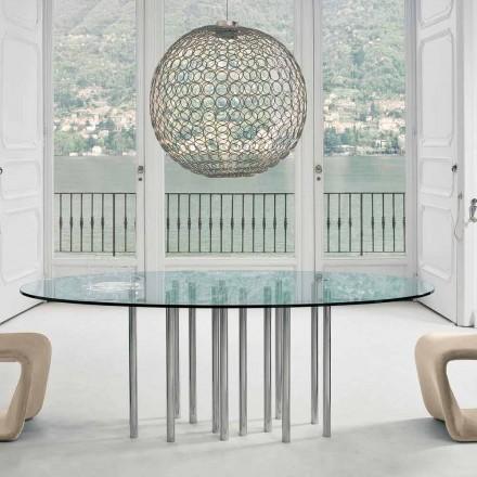 Bonaldo Mille rundbord i kristall och krom stål tillverkat i Italien