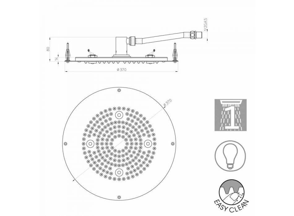 Bossini duschmunstycke runt till en modern jet med LED-lampor
