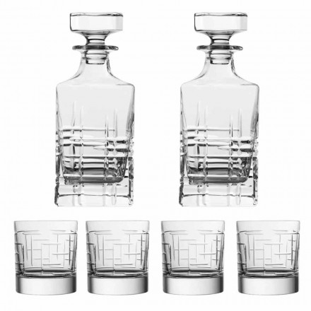 6-delad lyxig ekologisk kristallwhiskyflaska och glasögon - arytmi