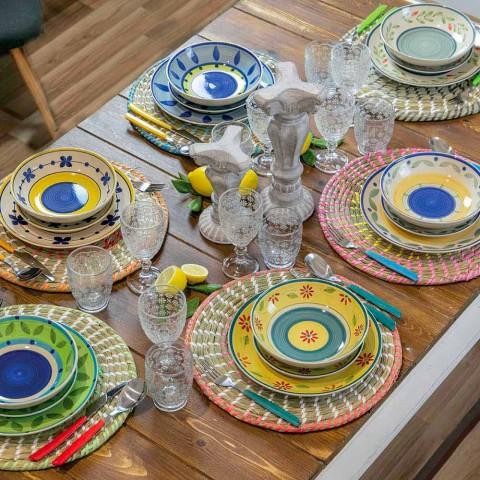 Bägare glas i genomskinligt glas med lättnad dekorationer, 12 stycken - Trapani