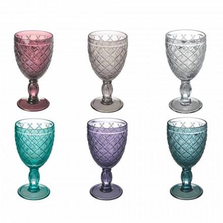Vin- eller vattenbägare i färgat eller transparent glas med dekorationer, 12 stycken - Rocca