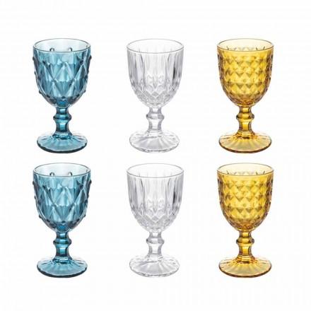 Färgade glasbägare i reliefdekorerat glas, 12 stycken - ilska