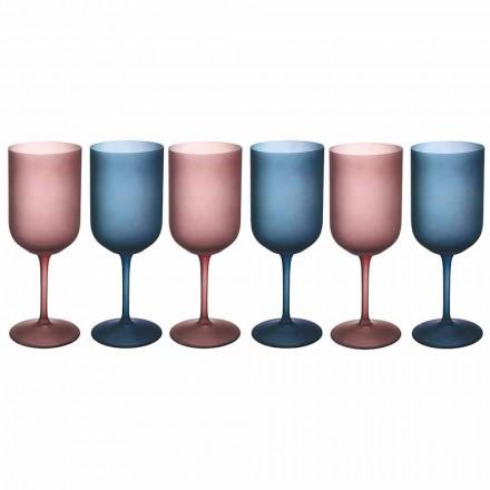Färgade vinglas i frostat glas med iseffekt 12 stycken - Norvegio