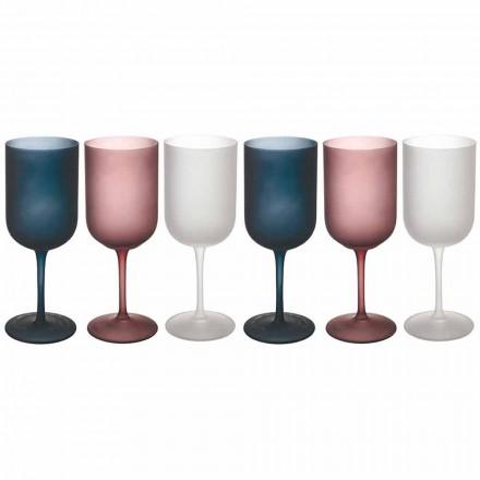 Färgat gruseffekt Frostat glas vinglas, 12 stycken - höst